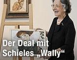 """Elisabeth Leopold mit einem Faksimilie von Schieles """"Bildnis Wally"""""""