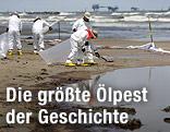 Menschen reinigen vom Öl verunreinigten Strand.