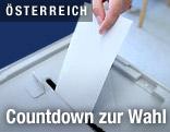 Wahlurne mit Stimmzettel