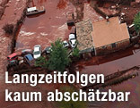 Luftaufnahme vom Überschwemmungsgebiet in Ungarn
