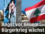 Mann hält iranische und libanesische Flagge vor Plakat mit Ahmadinedschad