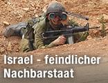 Israelischer Soldat an der israelisch-libanesischen Grenze