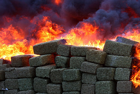 Drogen werden verbrannt