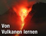 Vulkan spuckt Lava