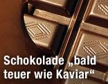 Eine Tafel Schokolade wird in flüssige Schokolade getränkt
