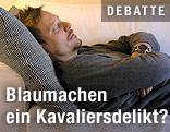 Schlafender Mann auf Couch