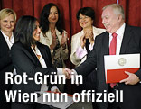 Grünen-Chefin Maria Vassilakou und Bürgermeister Michael Häupl