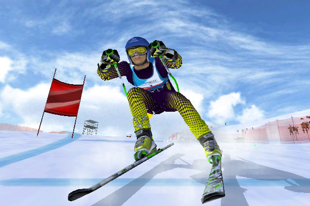 Screenshot eines Skirennläufers des Online-Spieles Ski Challenge