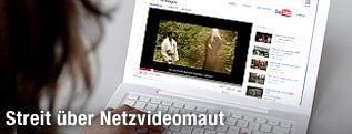 junge Frau sitzt vor Computerbildschirm und sieht YouTube Video