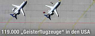 Flugzeuge am Flugfeld von oben
