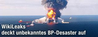 Explodierte Bohrinsel Deep Water Horizon im Golf von Mexiko