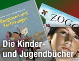 """Buchcover von """"Theo Boone und der unsichtbare Zeuge"""", """"Kaugummi und Verflixungen"""" und """"Zogg"""""""