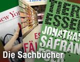 """Buchcover von """"New York, Porträt einer Stadt"""", """"Die Essensfälscher"""" und """"Tiere essen"""""""