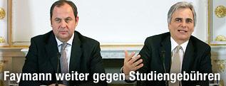 Vizekanzler Josef Pröll und Bundeskanzler Werner Faymann beim Ministerrat