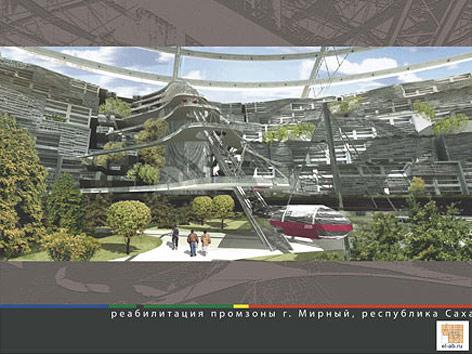 Computerbild der unterirdischen Stadt