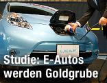 Elektroauto wird an einer Steckdose aufgeladen