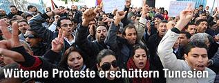 Protestierende in Tunis