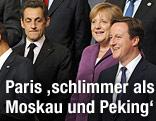 Frankreichs Präsident Nicolas Sarkozy, Deutschlands Bundeskanzlerin Angela Merkel und Großbritanniens Premier David Cameron