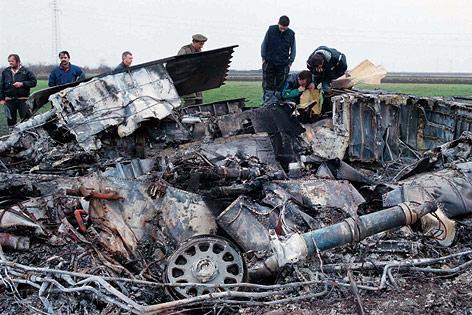 Wrackteile des US-Jets F-117 Nighthawk 1999 in Serbien