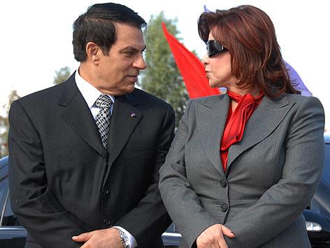 Tunesiens gestürzter Präsidenten Zine El Abidine Ben Ali und Ehefrau Leila
