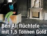 Buben gehen durch das geplünderte Heim von Ben Ali