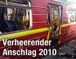 Zerstörter U-Bahn-Zug