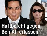 Der gestürzte Präsident von Tunesien Zine El Abidine Ben Ali mit seiner Frau Leila