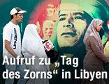Menschen vor Gaddafi-Plakat