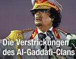 Der libyische Staatsführer Muammar Al-Gaddafi in Uniform vor Rednerpult