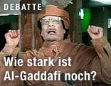 Der libyische Staatsführer Muammar Al-Gaddafi bei einer Rede