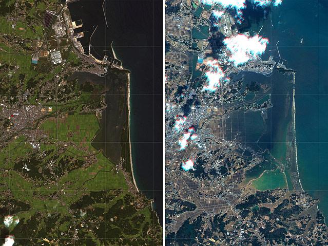 Satellitenbild zeigt Region um den Ort Soma vor und nach dem Tsumnami