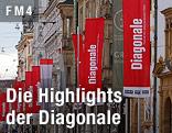 """Diagonale""-Fahne in Graz"
