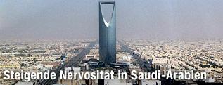 Blick auf den Kingdom Tower in Riad