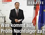 Josef Pröll verlässt das Rednerpult nach seinem Rücktritt
