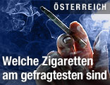 Hand hält Zigarette