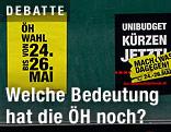 Tafel mit ÖH-Wahlplakaten