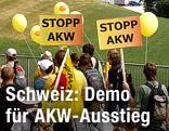 Atomgegner demonstrieren vor einem Kraftwerk
