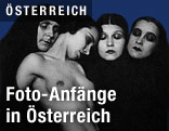 """Rudolf Koppitz """"Komposition"""" (1925):  Nackte Frau neben Frauen in Kutten"""