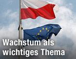 Polnische und Europäische Flagge