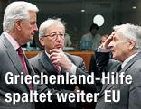 Kommissar für Binnenmarkt und Dienstleistungen Michel Barnier, Ex-Finanzminister und  Premierminister Luxemburgs Jean-Claude Juncker und Präsident der Europäischen Zentralbank Jean-Claude Trichet