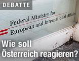 Schild vor dem Außenministerium in Wien