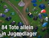 Luftaufnahme von Zeltlager auf der norwegischen Insel Utöya