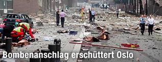 Zerstörtes Gebäude in Oslo