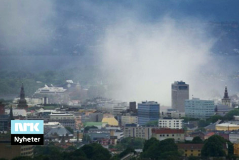 Rauch über dem Stadtzentrum
