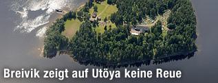 Luftaufnahme der Utöya Insel in Norwegen