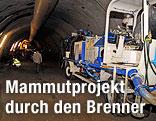 Arbeitsmaschine im Brennerbasistunnel
