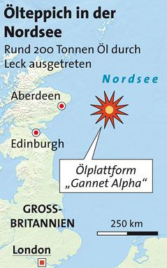 Karte mit Lokalisierung der Ölplattform