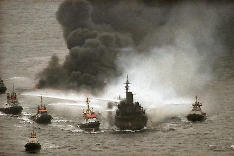 Öltanker British Trent wird 1993 gelöscht