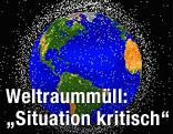 Computersimulation der Erde umgeben von Weltraummüll