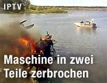 Wrack eines abgestürzten Flugzeugs in einem See